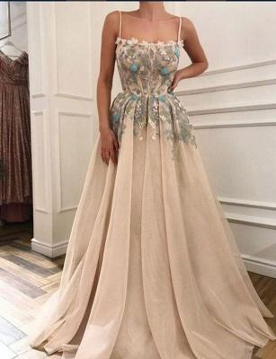 Glamorous Spaghetti Straps  Appliques Long Prom Evening Dress_1