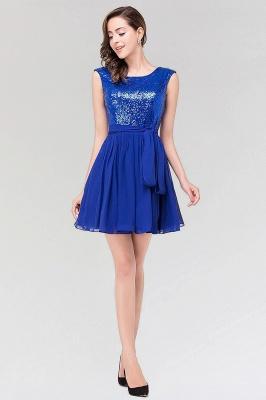 A-line Chiffon Square Sleeveless Bow Ruffles Mini Bridesmaid Dress with Sequins_4
