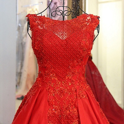 Elegant Red Bateau Sleeveless Backless Floor-Length Evening Gown With Bow_5