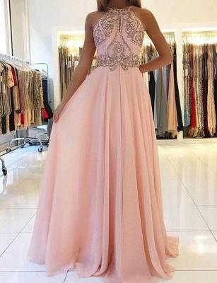 Fashion  Spaghetti Straps Beading Pink Floor-Length Prom Dress_1