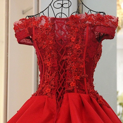 Chic Red A Line Off-the shoulder Beadings Lace-up Batreau Evening Gown_4