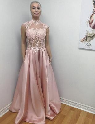 Unique High Neck  Sleeveless Appliques Floor-Length Evening Dress_1