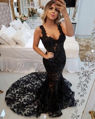 Glamorous Straps Sexy Mermaid Appliques Sweep Train Prom Dress_1