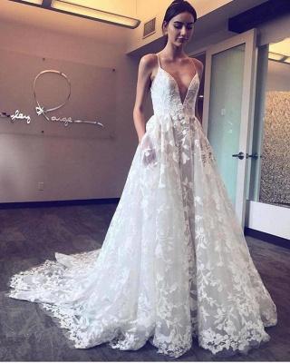 Cheap V-Neck Spaghetti Straps Tulle Appliques Court Train Wedding Dresses_1