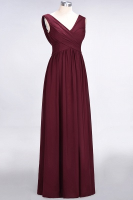 Elegant Princess Chiffon Straps V-Neck Sleeveless Floor-Length Bridesmaid Dress with Ruffles_3