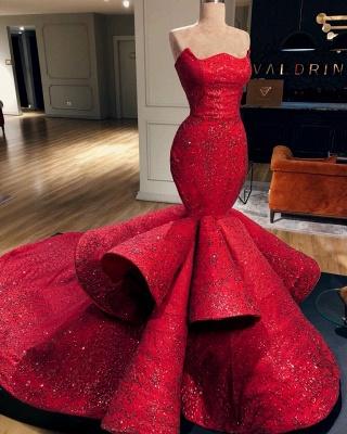 Elegant Mermaid Red Evening Gowns | Ruffles Sexy Strapless Sleeveless Prom Dresses_2