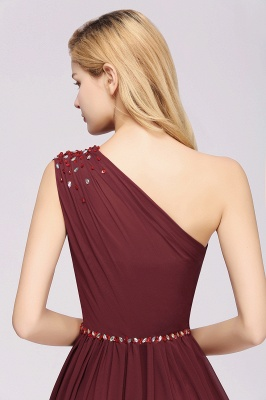 Elegant A-Line Burgundy Chiffon One-Shoulder Sleeveless Ruffles Floor-Length Bridesmaid Dresses with Beadings_13