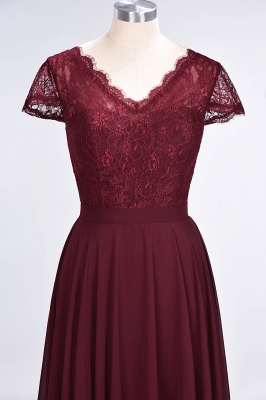 Elegant Princess Chiffon Lace V-Neck Cap-Sleeves Floor-Length Bridesmaid Dress_4