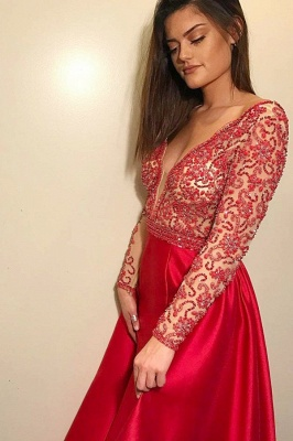 Sexy Deep V-Neck Long Sleeves Beading A-Line Prom Dress_1