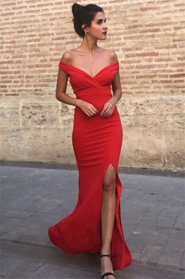 Sexy Mermaid Off-the-Shoulder Sleeveless Front-Slipt Prom Dress_2
