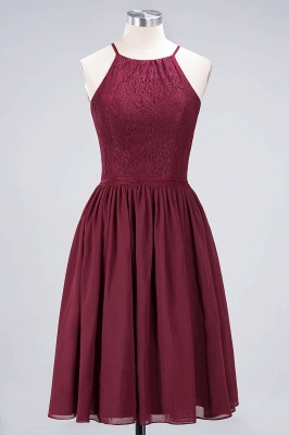 A-line Chiffon Lace Jewel Sleeveless Knee-Length Bridesmaid Dresses with Ruffles_9