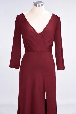 Elegant Princess Spandex V-Neck Long-Sleeves Side-Slit Floor-Length Bridesmaid Dress with Ruffles_4