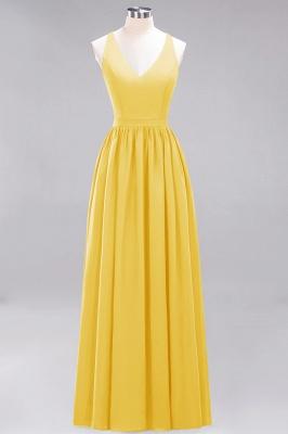 | A-Line Chiffon Lace V-Neck Sleeveless Straps Floor-Length Bridesmaid Dresses_16