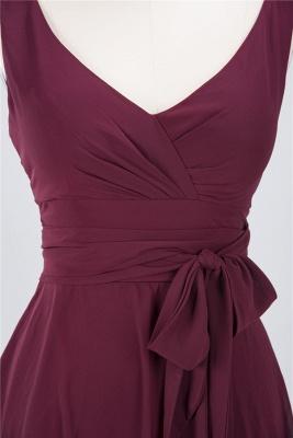 Elegant Princess Chiffon Straps V-Neck Sleeveless Ruffles Knee-Length Bridesmaid Dress with Bow Sash_3
