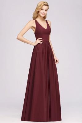 | A-Line Chiffon Lace V-Neck Sleeveless Straps Floor-Length Bridesmaid Dresses_38
