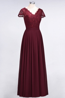 Elegant Princess Chiffon Lace V-Neck Cap-Sleeves Floor-Length Bridesmaid Dress_3
