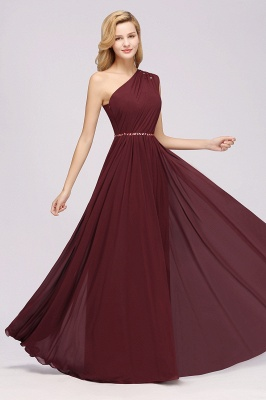 Elegant A-Line Burgundy Chiffon One-Shoulder Sleeveless Ruffles Floor-Length Bridesmaid Dresses with Beadings_11