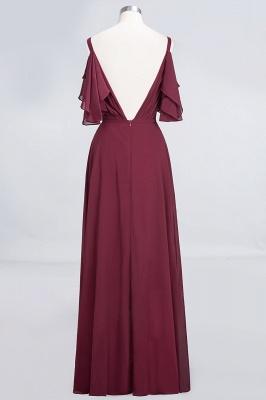 Elegant Princess Chiffon V-Neck Straps Sleeveless Ruffles Floor-Length Bridesmaid Dress with Pearls_2