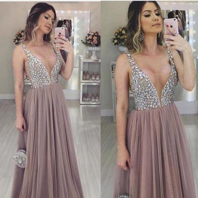 Fashion V-Neck Straps Sleeveless  Tulle Prom Dress_1