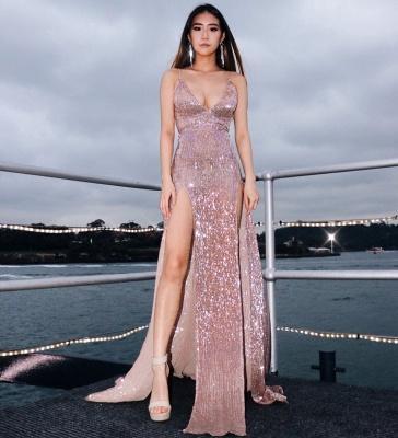 Sexy V-Neck Spaghetti Straps Sheath Front Split Prom Dress_1