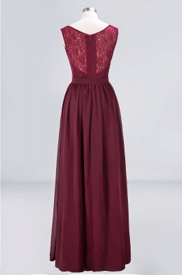 Elegant Princess Chiffon Lace V-Neck Sleeveless Floor-Length Bridesmaid Dress with Ruffles_2