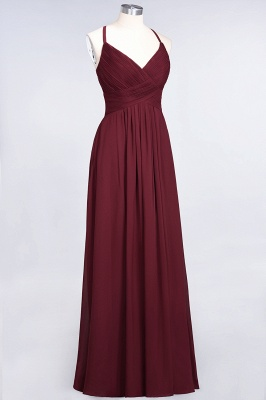 Elegant Princess Chiffon Spaghetti-Straps V-Neck Sleeveless Floor-Length Bridesmaid Dress with Ruffles_37