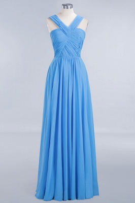 Elegant A-Line Chiffon Straps Sleeveless Ruffles Floor-Length Bridesmaid Dresses_7