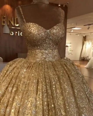 2019 Luxurious Spaghetti Straps Sleeveless Ball Gown Sequins Lace-up Prom Dresses_1