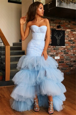 Mermaid Tulle Layers Strapless Sleeveless High-Low Prom Dress_4