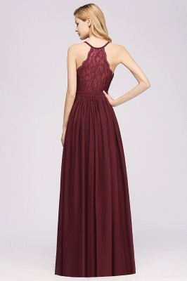| A-Line Chiffon Lace V-Neck Sleeveless Straps Floor-Length Bridesmaid Dresses_36