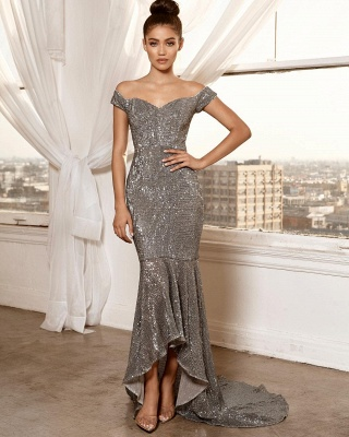Sexy Off-the-Shoulder Sleeveless Sheath High Low Prom Dress_3