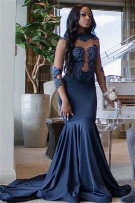 Elegant Mermaid Appliques 3/4 Sleeves Long Prom Dress_3