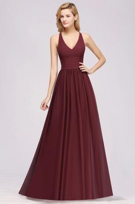 | A-Line Chiffon Lace V-Neck Sleeveless Straps Floor-Length Bridesmaid Dresses_39