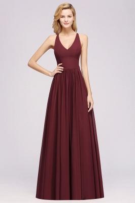 | A-Line Chiffon Lace V-Neck Sleeveless Straps Floor-Length Bridesmaid Dresses_37