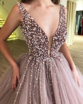 Tulle Beading Deep-V-Neck Straps Sleeveless Prom Dress_3