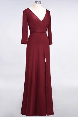 Elegant Princess Spandex V-Neck Long-Sleeves Side-Slit Floor-Length Bridesmaid Dress with Ruffles_3