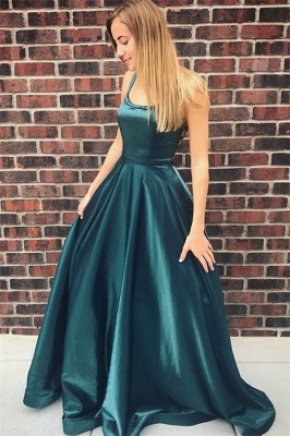 Glamorous Square Neck Straps Sleeveless A-Line Floor-Length Prom Dress_1