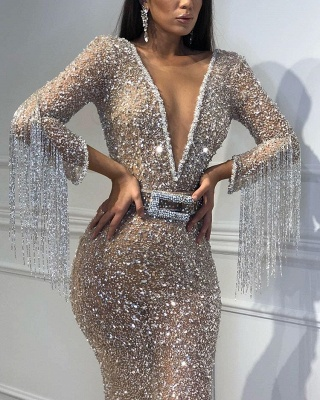 Sexy Mermaid Tulle Sequins Deep V-Neck 3/4 Sleeves Floor-Length Prom Dress with Tassels_5