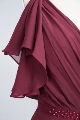 Elegant Princess Chiffon V-Neck Straps Sleeveless Ruffles Floor-Length Bridesmaid Dress with Pearls_8