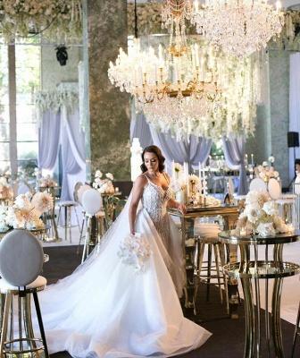 Elegant Spaghetti Straps Sleeveless  Mermaid Lace Appliques Wedding Dress_3
