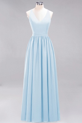 | A-Line Chiffon Lace V-Neck Sleeveless Straps Floor-Length Bridesmaid Dresses_22