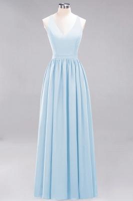| A-Line Chiffon Lace V-Neck Sleeveless Straps Floor-Length Bridesmaid Dresses_22