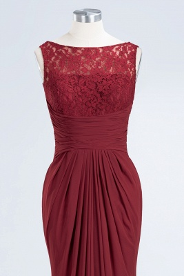 Elegant A-Line Burgundy Chiffon Lace Scoop Sleeveless Ruffles Floor-Length Bridesmaid Dresses_10