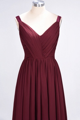 Elegant Princess Chiffon Straps V-Neck Sleeveless Backless Floor-Length Bridesmaid Dress with Ruffles_5