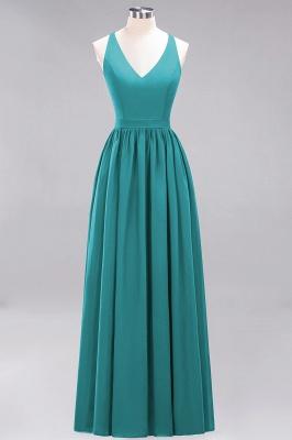 | A-Line Chiffon Lace V-Neck Sleeveless Straps Floor-Length Bridesmaid Dresses_31