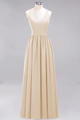 | A-Line Chiffon Lace V-Neck Sleeveless Straps Floor-Length Bridesmaid Dresses_14