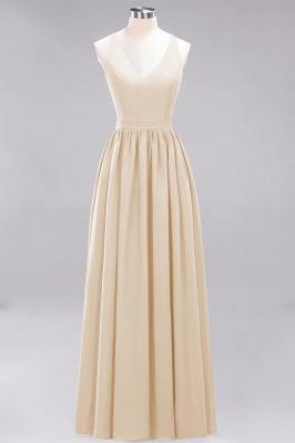 | A-Line Chiffon Lace V-Neck Sleeveless Straps Floor-Length Bridesmaid Dresses_14