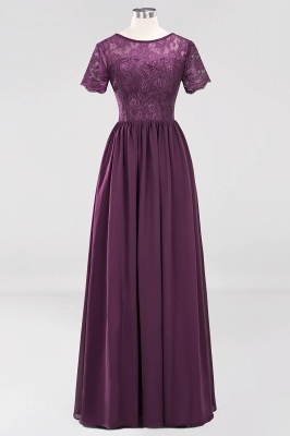 A-line Chiffon Lace Jewel Short-Sleeves Floor-length Bridesmaid Dress_19