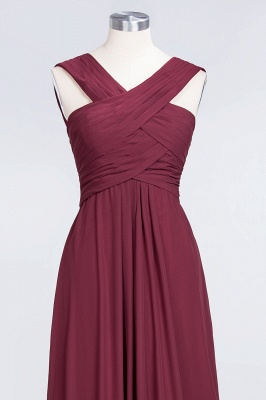 Elegant Princess Chiffon V-Neck Straps Sleeveless Floor-Length Bridesmaid Dress with Ruffles_4