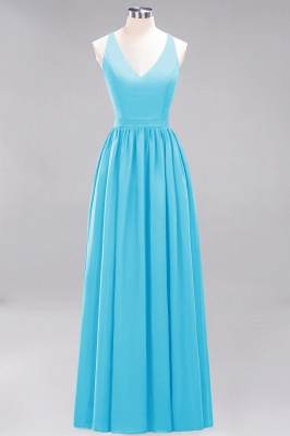 | A-Line Chiffon Lace V-Neck Sleeveless Straps Floor-Length Bridesmaid Dresses_23